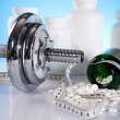 Dumbell, Fitness background — Stock Photo #7409277