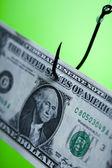 Money on hook — Stock Photo
