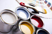 Paint and brush, Home decoration — Stock fotografie