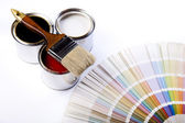 Paint, cans, brush — Stock Photo
