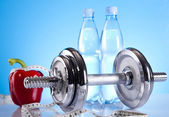 Dumbbell and bottle water — Foto Stock