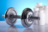 Fitness, dumbell background — Stock Photo