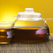 Glass teapot and green tea — Stock Photo #7413052