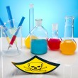 Laboratory flasks with fluids of different colors — ストック写真