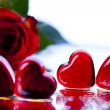 Rose and heart - Stock Photo