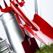 Watering Can And Gardening Tools — Stock Photo