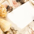 Sands, messages, shells and best from holidays — Stock Photo