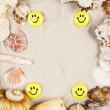 Sands, messages, shells and best from holidays — Stock Photo #7456599