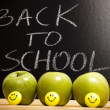 Back to schoo, inscription on blackboard - Stock Photo