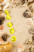 Messages between sands and shells — Stock Photo