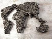 Världen karta och skrivare block — Stockfoto