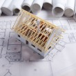 Architecture model and plans — Stock Photo