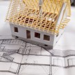 House on achitecture plan — ストック写真