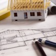 House on achitecture plan — Stock Photo