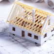 Architecture model and plan — Stock Photo