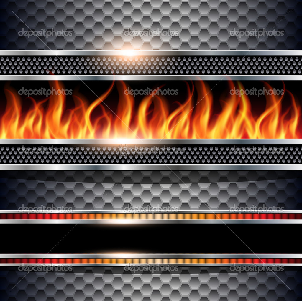 Abstract background, metallic with realistic fire flames, vector.  Stock Vector #6930180