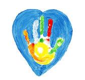 Forma di colorate a mano all'interno di un cuore — Foto Stock