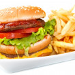 Hamburger with potatoes — Stock Photo