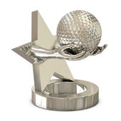 Silver trophy with star, hands and golf ball — Stock Photo