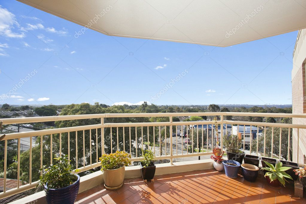 Balcony with a view against blue sky — Stock Photo #7194966