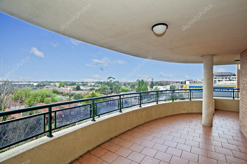 Balcony with a view against blue sky — Stock Photo #7195452