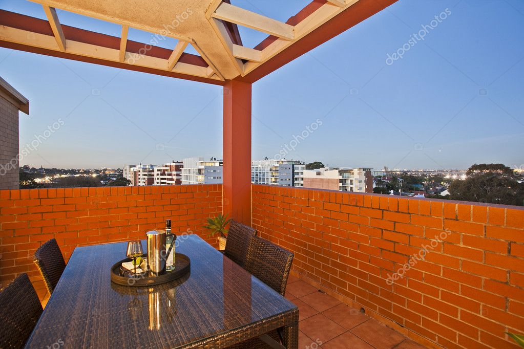 Balcony with a view against blue sky  Stock Photo #7195479