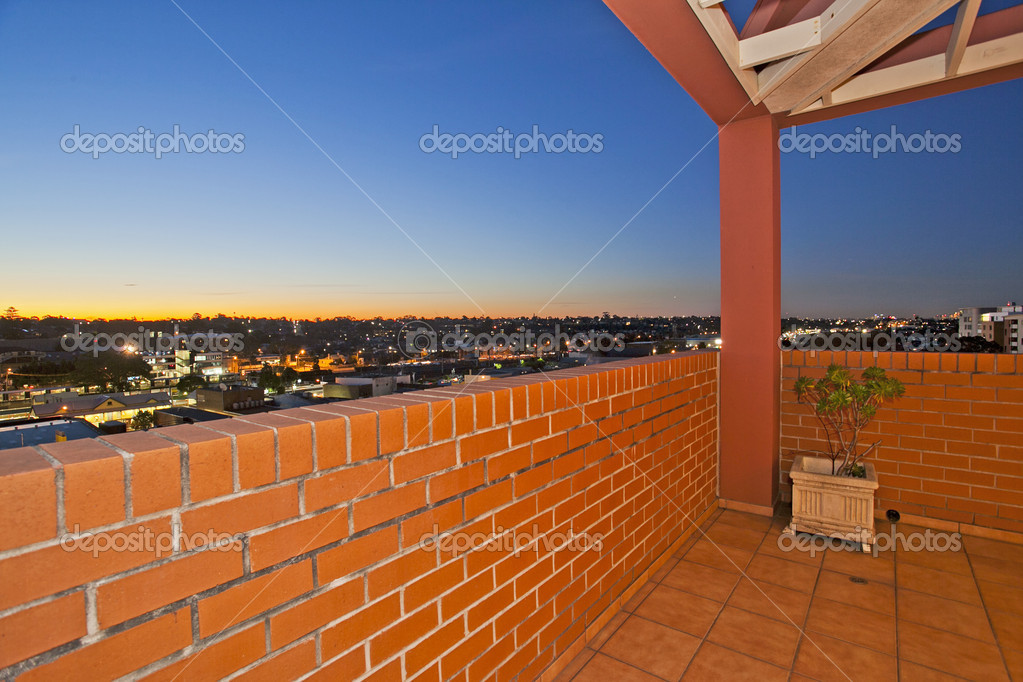 Balcony with a view against blue sky — Stock Photo #7195480