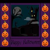 Fundo de Halloween com um castelo — Fotografia Stock