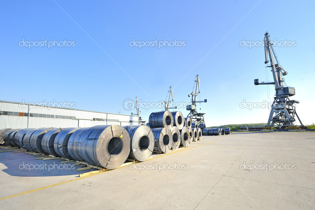 Packed rolls of steel sheet — Stock Photo #6857399