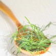 Wooden spoon with dill — Stock fotografie #6994513