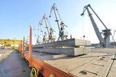 Steel sheet cargo on railway — Stock Photo