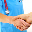Doctor shaking hands — Stock Photo