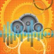 Abstract vector orange gears music background — Stock Vector
