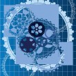 Abstract gears vector blue background — Stock Vector