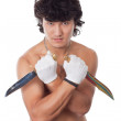 Asian man with two knife — Stock Photo