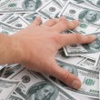 Man hand take  many money — Stock Photo