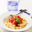 Pasta with Tomato Sauce and Basil — Foto Stock