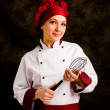 Chef with whip — Stock Photo