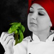 Chef is controlling basil quality — Stock Photo