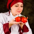 Chef is controlling tomato quality — 图库照片
