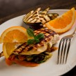 Royalty-Free Stock Photo: Grilled chicken breast on ratatouille bed