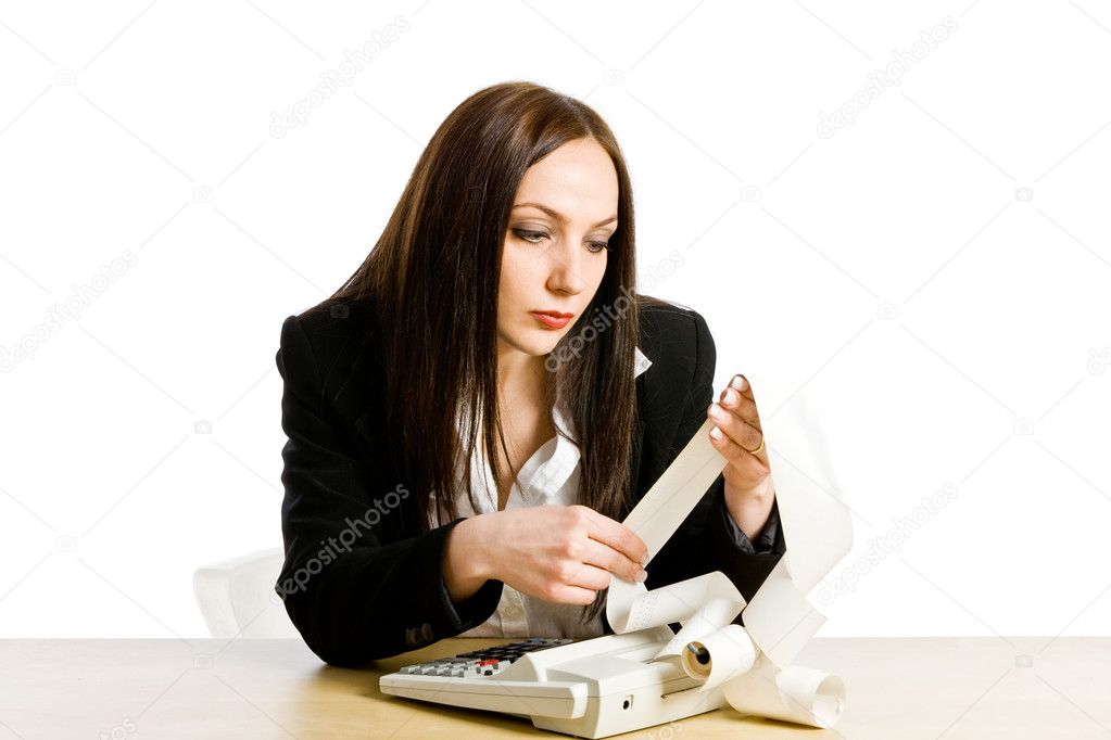Conceptual photo of woman with calculator calculating her taxes — Stock Photo #7565246