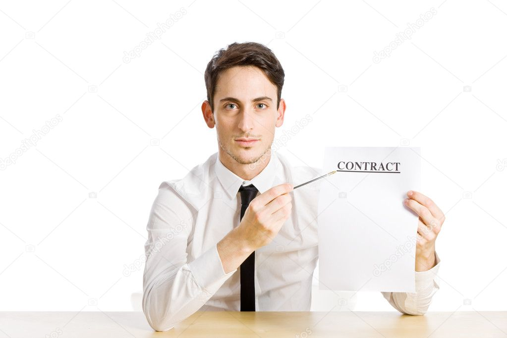 Conceptual photo of man with contract on white background — Stock Photo #7565542
