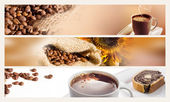Koffie horizontale banners — Stockfoto