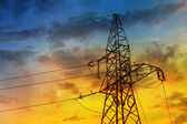 Electric high voltage power post — Stock Photo