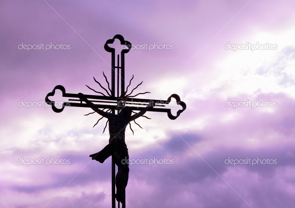 Cross silhouette against purple sky  Stock Photo #7304247
