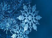 Copos de nieve de navidad en ramita de abeto — Foto de Stock