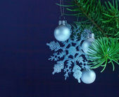 Christmas decoration with silver bauble — Stockfoto