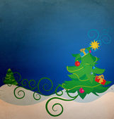 Vintage christmas tree illustration — Stock Photo