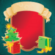Christmas frame with banner and holiday decorations - Foto de Stock